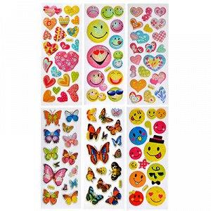 Наклейка детская, 17,5х7см, пластик, 6 дизайнов, арт.12-06