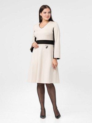 Платье Платье Amelia Lux 3439  Состав ткани: Вискоза-68%; Эластан-4%; Нейлон-28%;  Рост: 164 см.  Романтичное платье из приятного трикотажа нейлон-рома нежного кремового тона, который уютно облегает