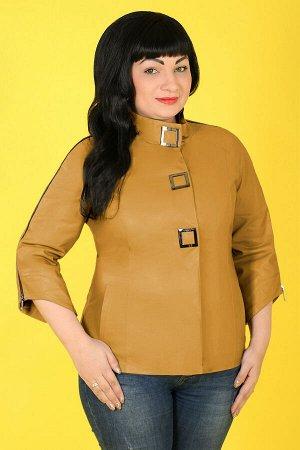 Куртка с коротким рукавом кожанаягорчичный