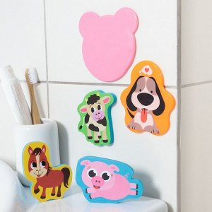 Набор игрушек для ванны «Лесные животные»: фигурки-стикеры из EVA, 3 шт. + мини-коврик на присосках