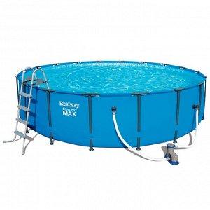 Каркасный бассейн+фильтр-насос +тент+лестница