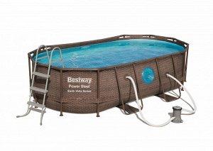Каркасный овальный бассейн ротанг