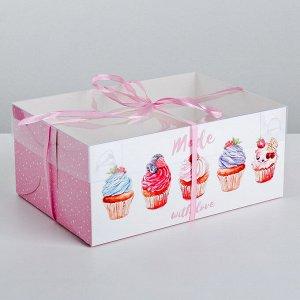 Коробка для капкейка Made with love, 23 ? 16 ? 10 см