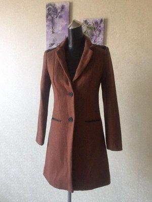 Пальто женское демисезонное со вставками из кожи pu