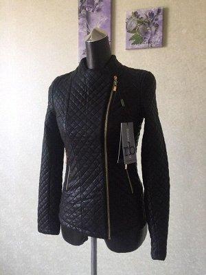 """Демисезонная женская """"стеганая"""" куртка из мягкой кожи pu, марка Roccobarocco"""