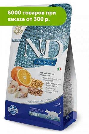 Farmina N&D Low Grain Adult Cat Cod & Orange сухой низкозерновой корм для кошек Спельта/Овес/Треска/Апельсин 1,5кг
