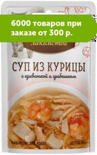 Деревенские лакомства влажный корм для кошек Курица + Креветка+Гребешок 35гр пауч