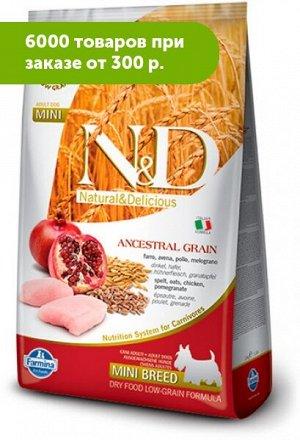 Farmina N&D сухой низкозерновой корм для собак мелких пород Курица/Гранат 800гр