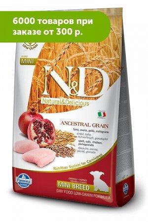 Farmina N&D Low Grain Chicken & Pomegranate Mini Breed Puppy сухой низкозерновой корм для щенков мел...ьта/Овес/Курица/Гранат 2,