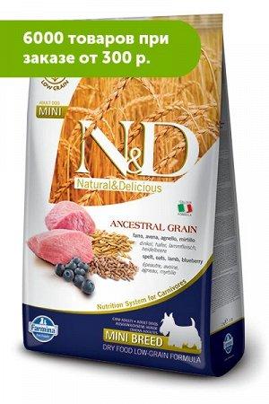 Farmina N&D Low Grain Lamb & Blueberry Adult Mini сухой низкозерновой корм для собак мелких пород Сп...а/Овес/Ягненок/Черника 2,