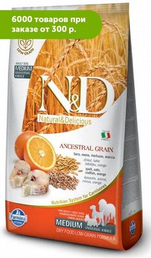 Farmina N&D Low Grain Cod & Orange Adult Medium Universal Kibble сухой низкозерновой корм с универса...а/Овес/Треска/Апельсин 2,