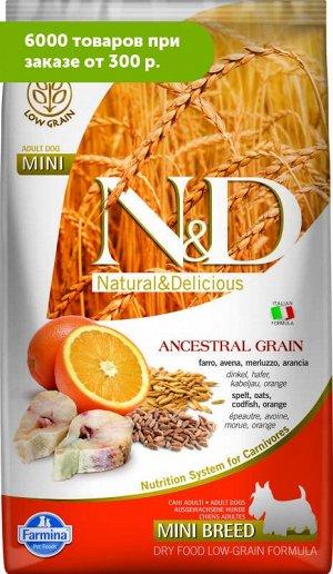 Farmina N&D Low Grain Cod & Orange Adult Mini сухой низкозерновой корм для собак мелких пород Спельта/Овес/Треска/Апельсин 2,5кг