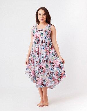 Розово-синий сарафан с цветами, 310B