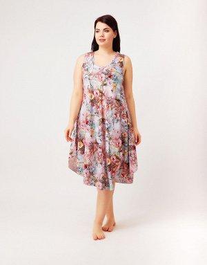 Сарафан серо-розовый с цветами, 310B