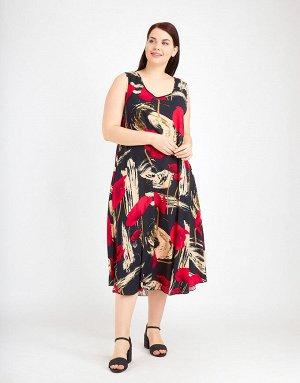 Чёрный сарафан с бежевыми красками и цветами, 312