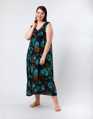 Чёрный сарафан с изумрудными цветами, 317