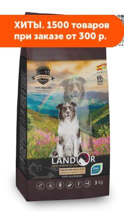 Landor Senior&Adult сухой корм для пожилых и взрослых собак всех пород с функцией улучшения мозговой деятельности Утка/рис 3кг