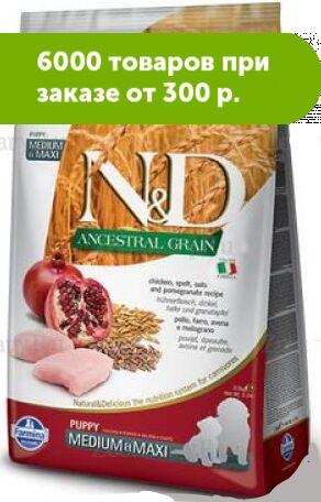 Farmina N&D Low Grain Chicken & Pomegranate Medium&Maxi Breed Puppy сухой низкозерновой корм для щен...ьта/Овес/Курица/Гранат 2,
