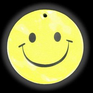 Светоотражающий элемент «Смайлик», двусторонний, d = 5,3 см, цвет жёлтый