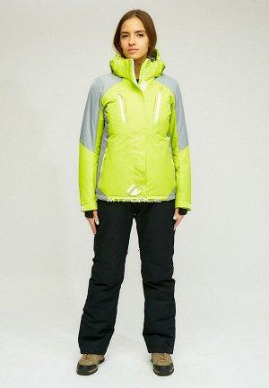 Женский зимний костюм горнолыжный желтого цвета 01861J