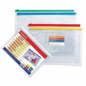 Папка-конверт на гибкой молнии Zip B6 (200 х 150 мм) Erich Krause, PVC Zip Pocket, тиснение - зеркало, МИКС