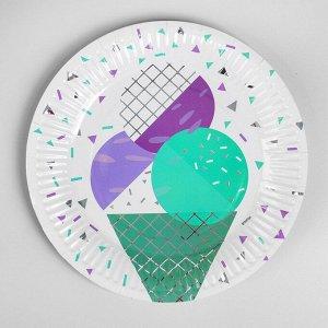 Тарелка бумажная «Мороженое», набор 6 шт.