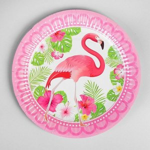 Тарелка бумажная «Фламинго», d=18 см, набор 6 шт.