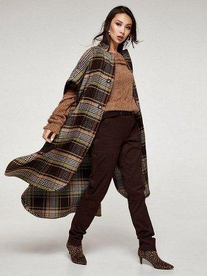 Женское шерстяное пальто-пончо в клетку олива, код 2350