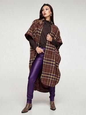 Женское шерстяное пальто-пончо в клетку фиолетое, код 2350