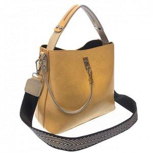 Стильная сумочка Weliz с широким ремнем через плечо из глянцевой эко-кожи дынного цвета.