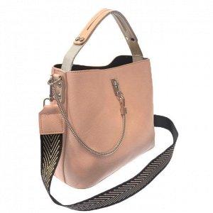 Стильная сумочка Weliz с широким ремнем через плечо из глянцевой эко-кожи цвета розовой пудры.