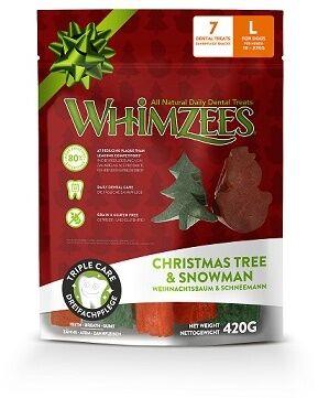 Whimzees лакомство для чистки зубов Новогодний Микс (елочки/ снеговики) для собак L 7 шт в пакете