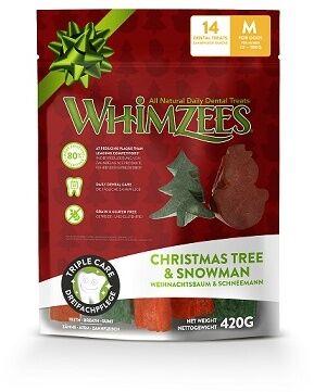 Whimzees лакомство для чистки зубов Новогодний Микс (елочки/ снеговики) для собак М 14 шт в пакете
