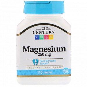 21st Century, Магний, 250 мг, 110 таблеток