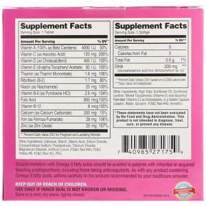 21st Century, Prenatal c мультивитаминами/минералами + докозагексаеновая кислота, 2 бутылки, 60 таблеток/60 желатиновых капсул