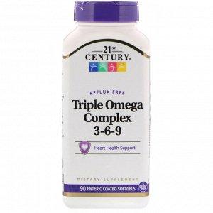 21st Century, Triple Omega Complex 3-6-9, 90 мягких желатиновых капсул с кишечнорастворимой оболочкой