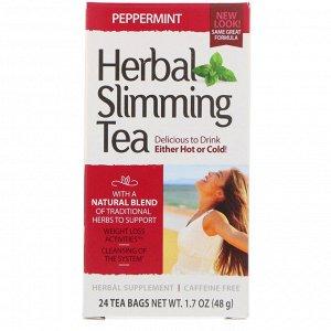 21st Century, Herbal Slimming Tea, Peppermint, Caffeine Free, 24 Tea Bags, 1.7 oz (48 g)