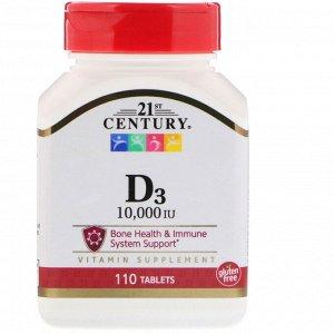 21st Century, D3, 10 000 МЕ, 110 таблеток