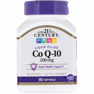 21st Century, Жидкий коэнзим Q-10, 200 мг, 90 мягких таблеток