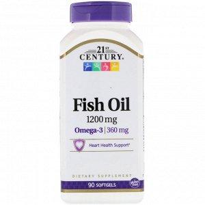 21st Century, Рыбий жир, 1200 мг, 90 мягких желатиновых капсул