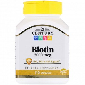 21st Century, Биотин, 5000 мкг, 110 капсул