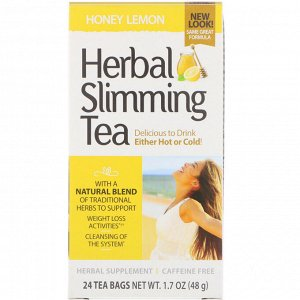 21st Century, Травяной чай для похудения, мед с лимоном, без кофеина, 24 чайных пакетиков, 48 г (1,7 унции)