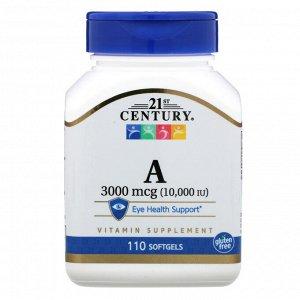 21st Century, Витамин A, 3000 мкг (10 000 МЕ), 110 мягких желатиновых капсул