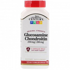 21st Century, Glucosamine 250 mg Chondroitin 200 mg Original Strength, 120 Easy to Swallow Capsules