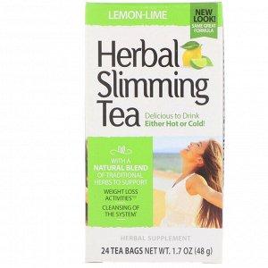 21st Century, Herbal Slimming Tea, Lemon-Lime, Caffeine Free, 24 Tea Bags, 1.7 oz (48 g)