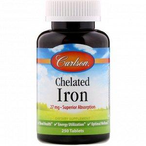 Carlson Labs, Хелатированное железо, 250 таблеток