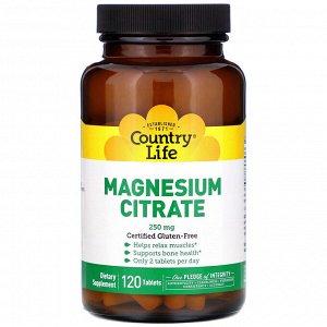 Country Life, Цитрат магния, 250 мг, 120 таблеток