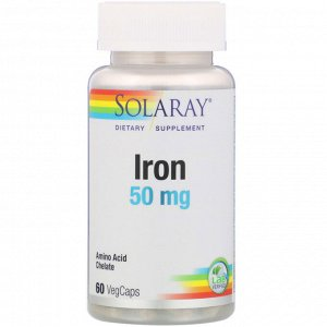 Solaray, Iron (Железо), 50 мг, 60 растительных капсул