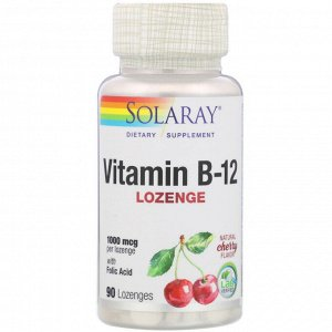 Solaray, Vitamin B-12, Natural Cherry Flavor, 1,000 mcg, 90 Lozenges