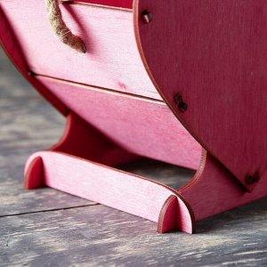 """Кашпо деревянное 17.7?10.5?15 см уникальное """"Сердце на двоих"""", ручка верёвка, бордовый"""